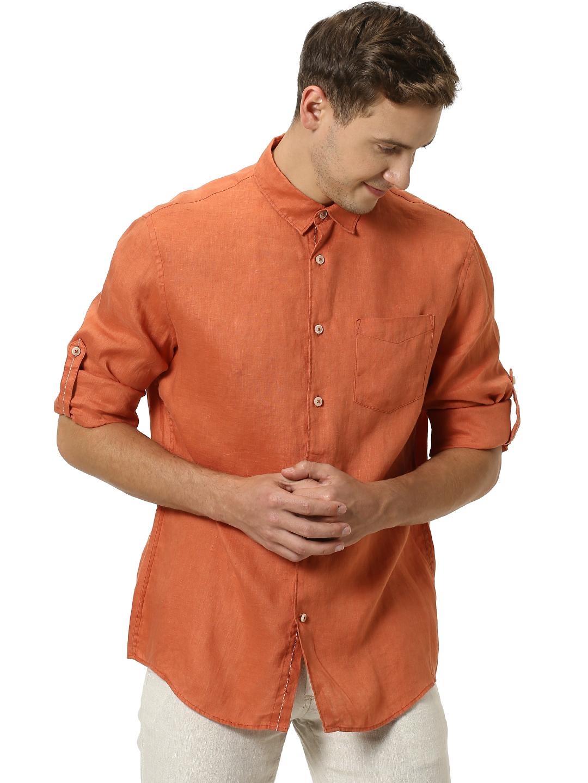 celio    100% Linen Casual Shirts