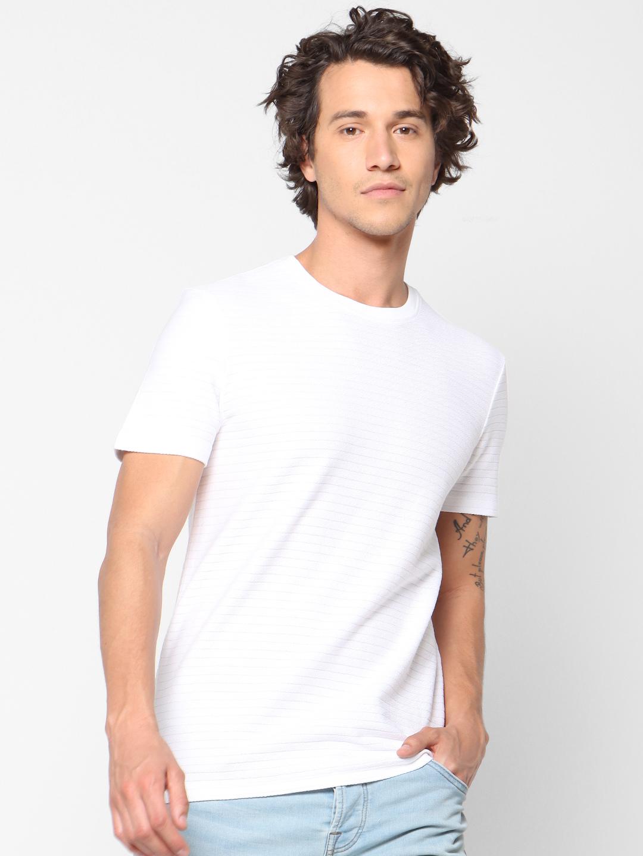 celio   Striped Crew Neck White T-Shirts