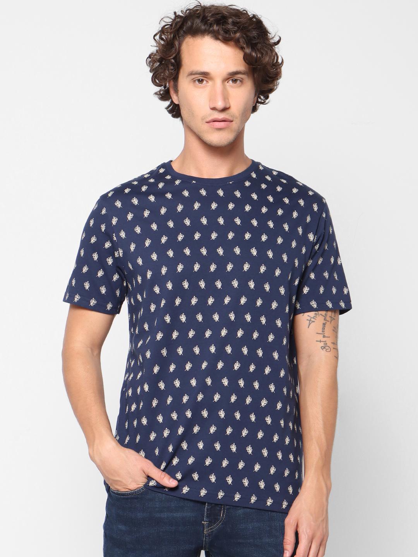 celio   Printed Crew Neck Blue T-Shirts
