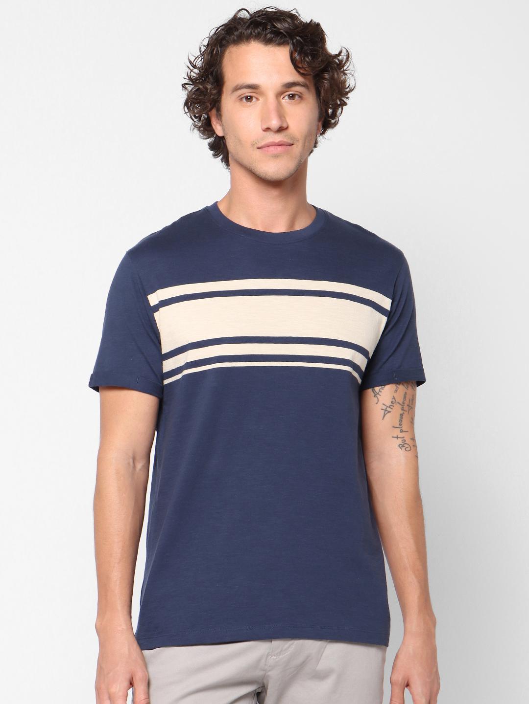 celio   Striped Crew Neck Blue T-Shirts