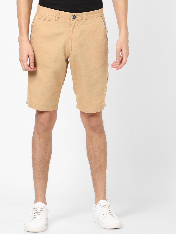 celio   Slim Fit Linen Blend Beige Shorts