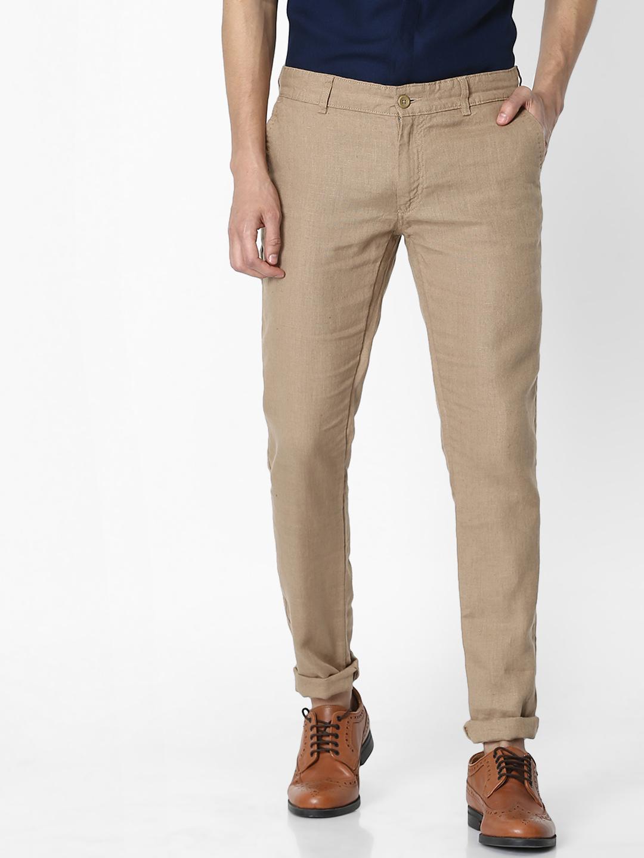 celio | 100% Linen Slim Fit Brown Trouser