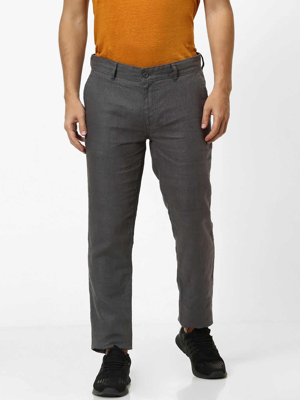 celio | 100% Linen Slim Fit Grey Trouser