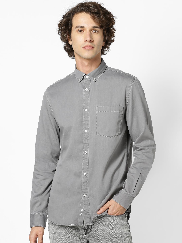 celio   Slim Fit Grey Denim Shirt