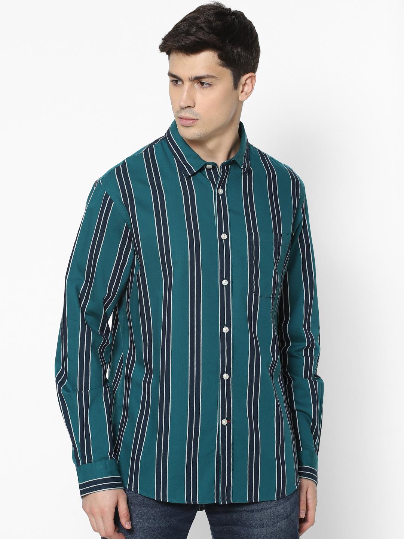 celio | Dark Green Striped Shirt