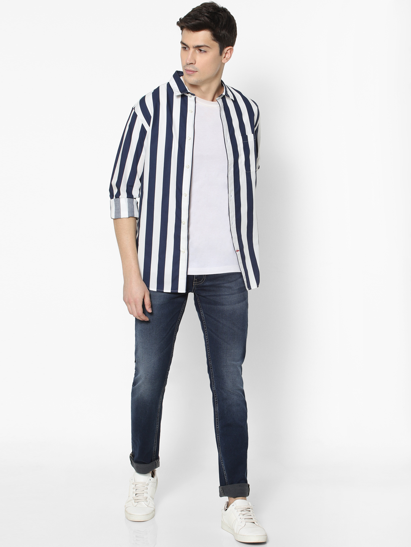 celio | Navy Striped Shirt