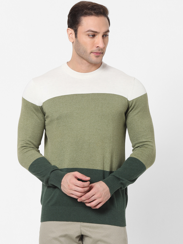 celio | Green Colourblock Crew Neck Sweater