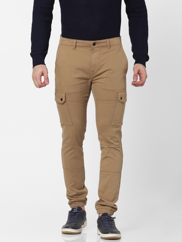celio | Slim Fit Brown Cargo Pants