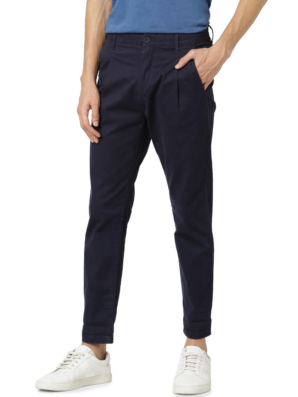 celio   Relaxed Fit Cotton Blend Blue Trouser