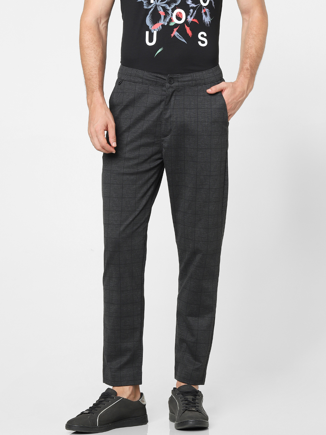 celio | Slim Fit Checked Casual Pants