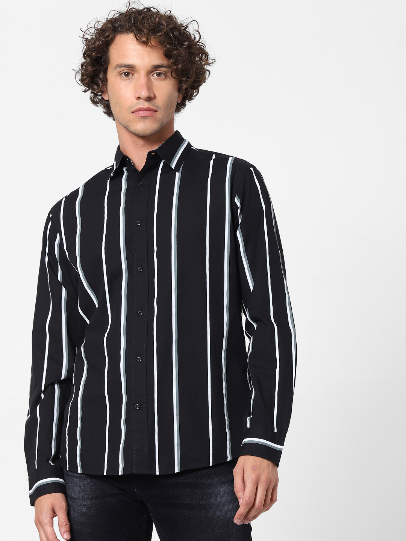 celio | 100% Cotton Striped Black Shirt