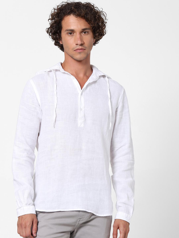celio | 100% Linen White Hooded Shirt