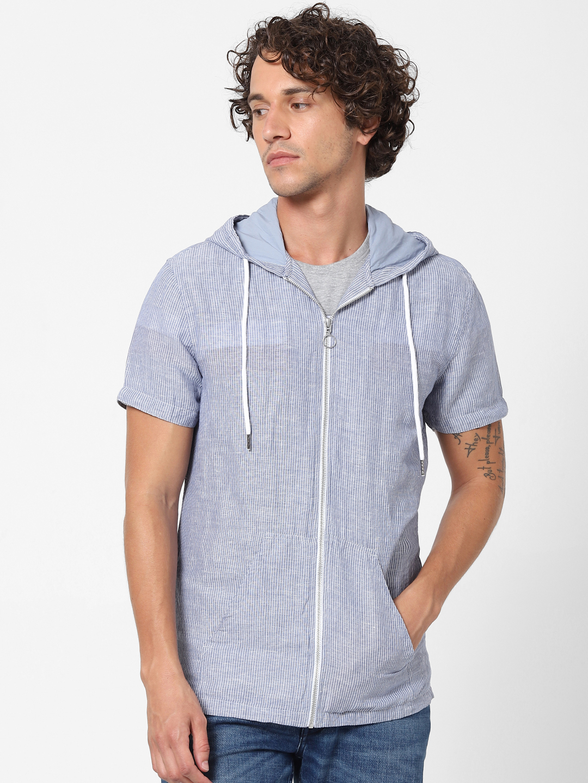 celio   100% Linen Blue Hooded Shirt