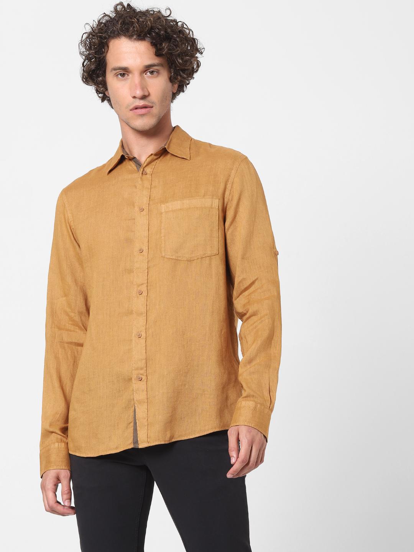 celio | 100% Linen brown Shirt