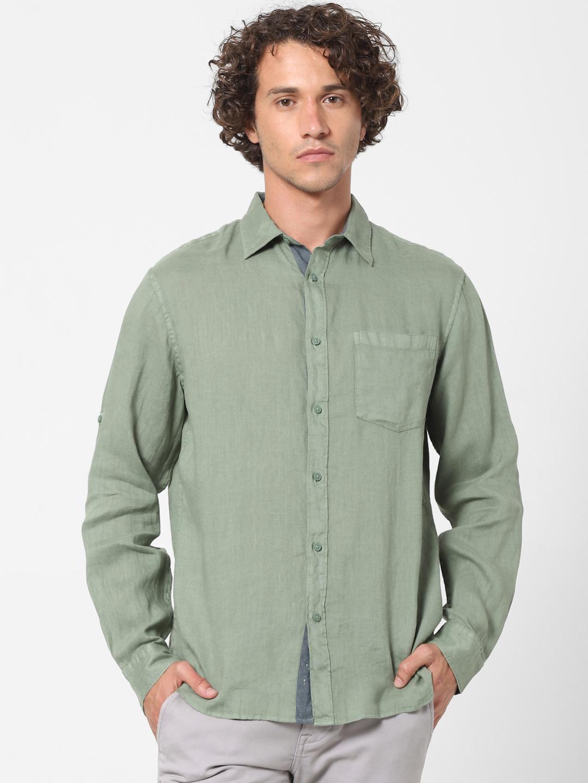 celio | 100% Linen Olive Shirt