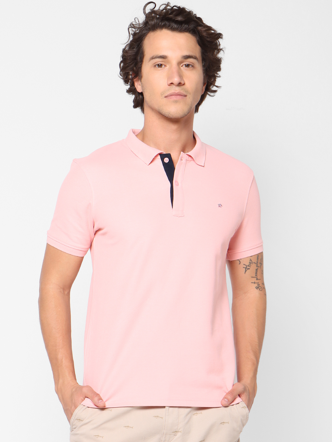 celio | Solid  Pink Polo T-Shirt
