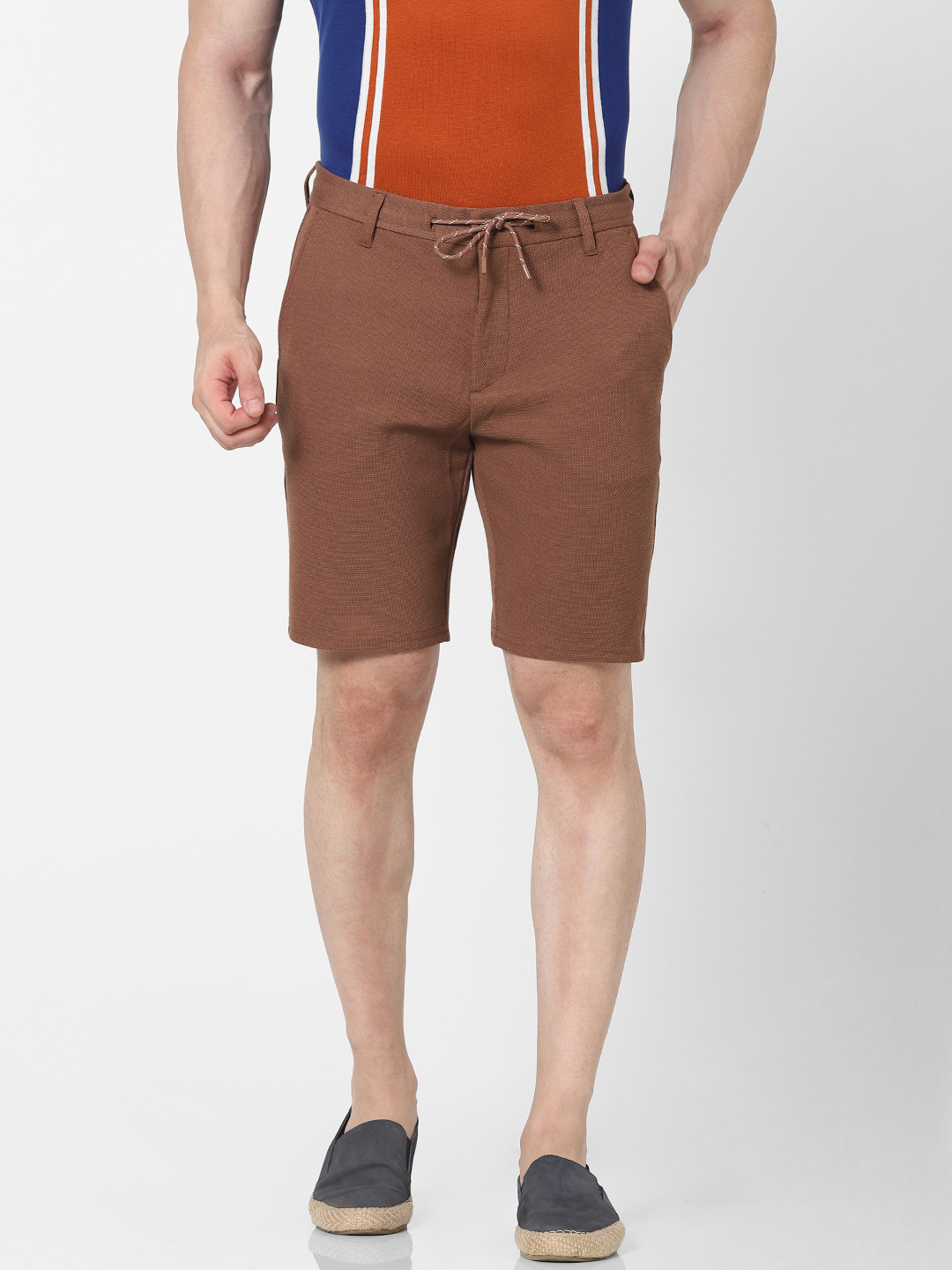 celio | Regular Fit Brown Knitted Shorts