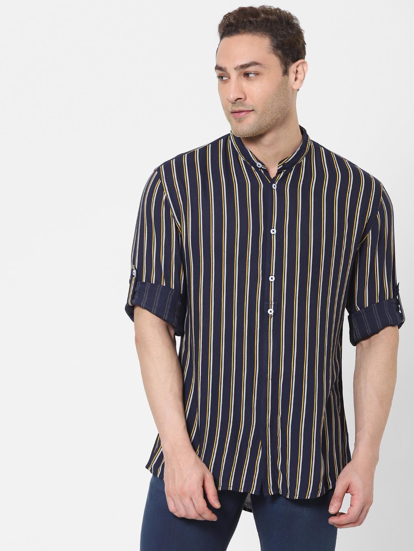 celio | Blue Slim Fit Striped Shirt