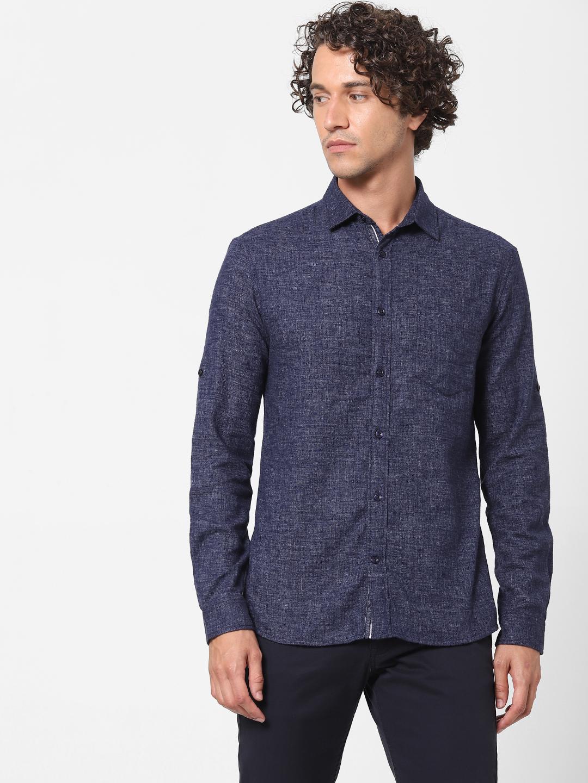 celio | Slim Fit Solid Denim Shirt