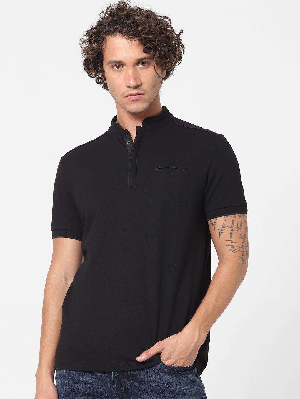 celio   Black Slim Fit Polo T-shirt