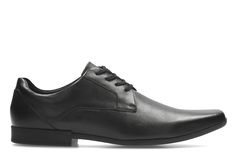 Clarks | Glement Lace Black Leather Derby Shoes