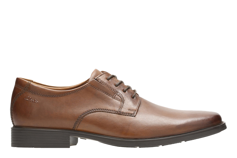 Clarks | Tilden Plain Dark Tan Leather Derby Shoes