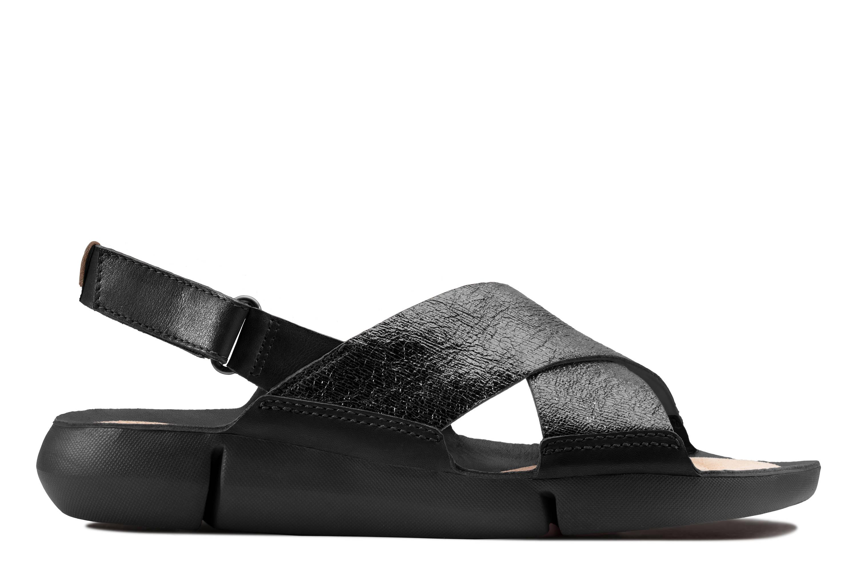 Clarks | Tri Chloe Black Leather Flat Sandals