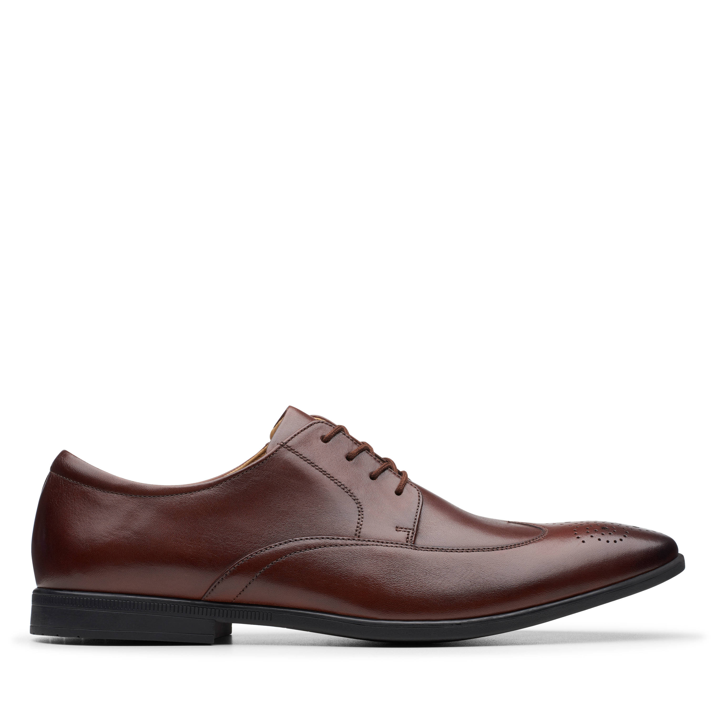 Clarks | Bampton Wing Mahogany Leather Derby Shoes