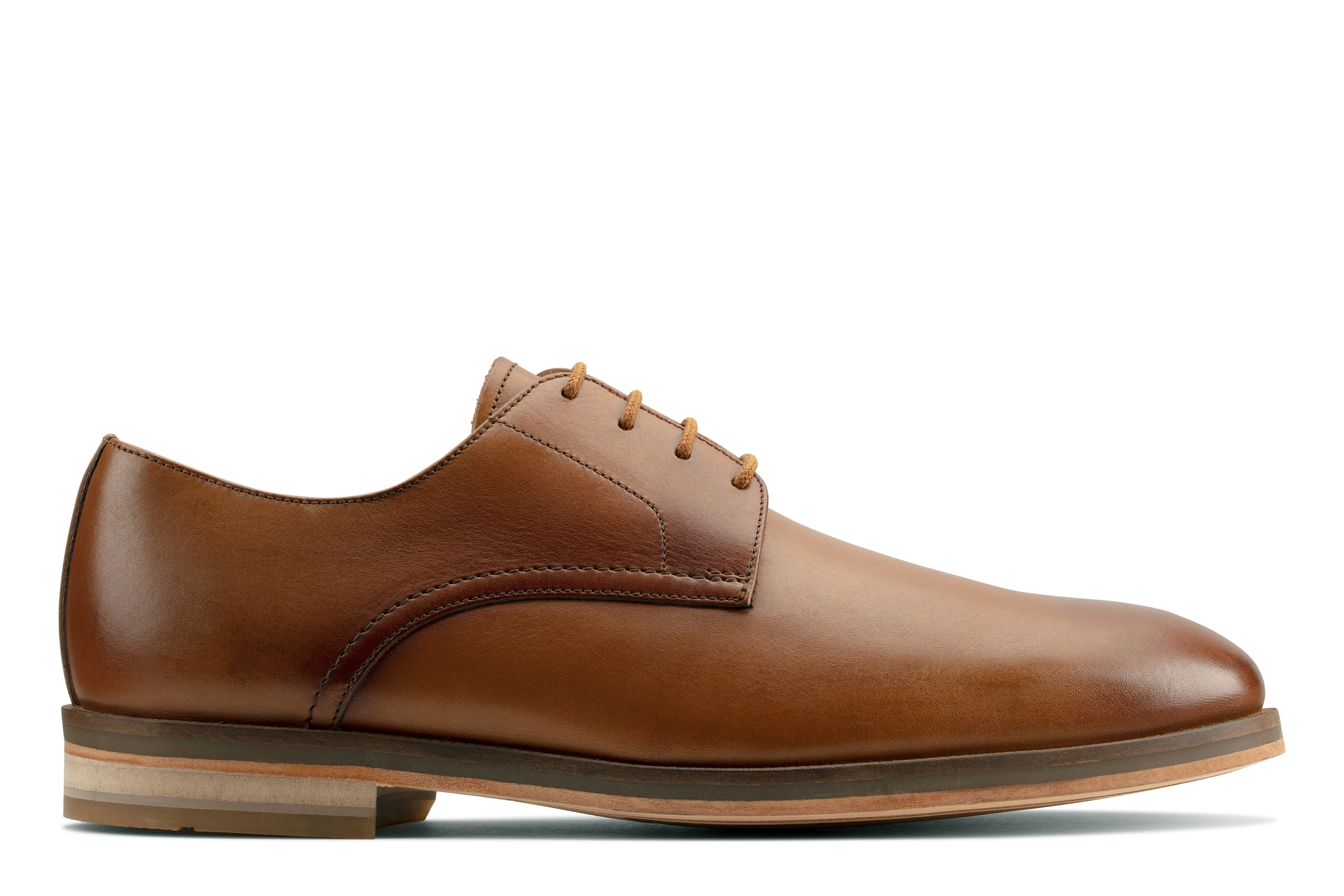 Clarks | Oliver Lace Tan Leather Derby Shoes
