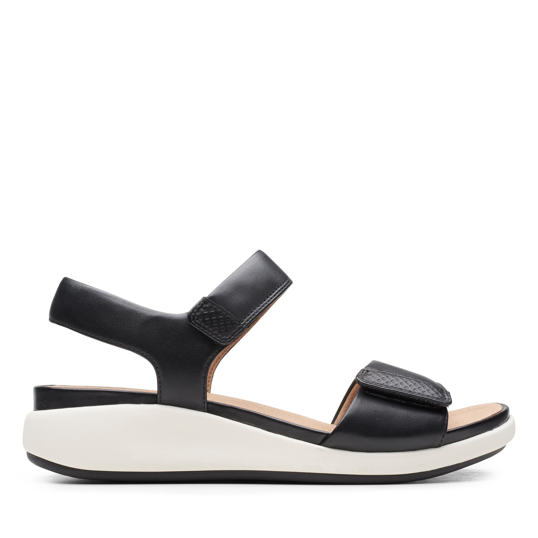 Clarks | Un Bali Lane Black Leather Flat Sandals