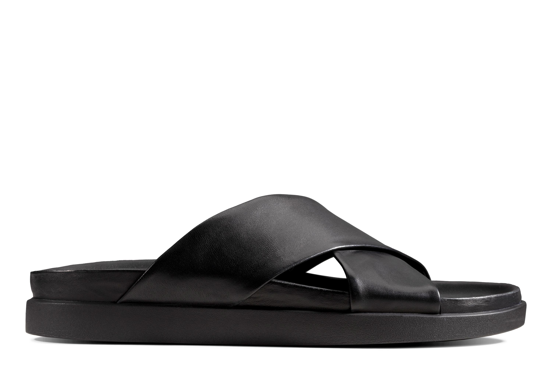 Clarks   Sunder Cross Black Leather Sandals