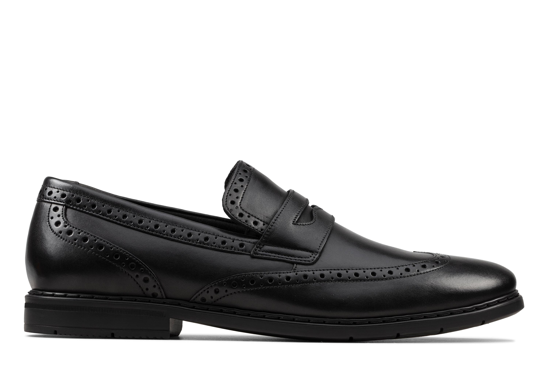 Clarks | Banbury Slip Black Leather Loafers