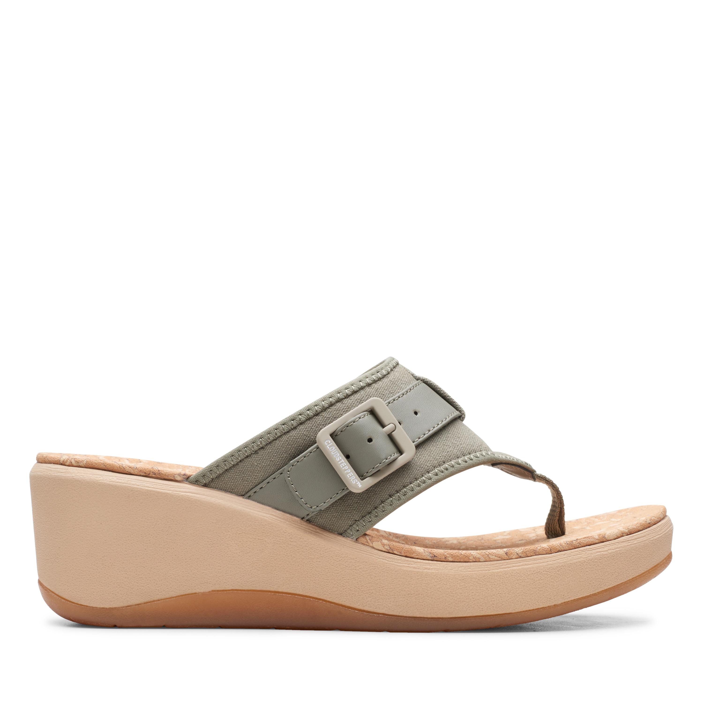 Clarks | Step Cali Sail Dusty Olive Wedge Sandal