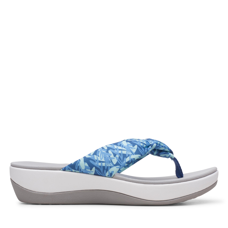 Clarks | Arla Glison Blue Print Flat Sandals