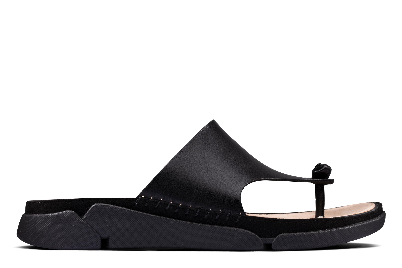 Clarks | Tri Toe Post Black Leather Flip Flop