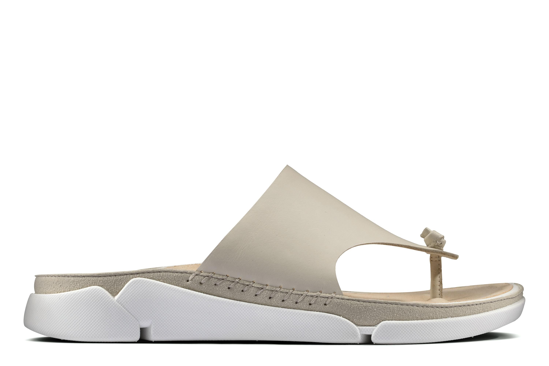 Clarks | Tri Toe Post White Leather Flip Flop