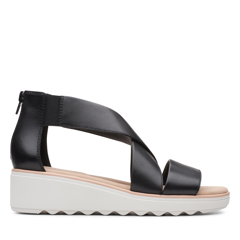 Clarks   Jillian Rise Black Leather Wedge Sandal