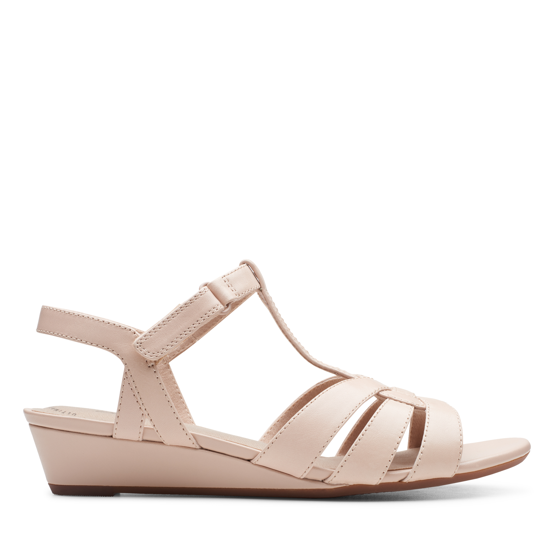 Clarks | Abigail Daisy Blush Leather Wedge Sandal