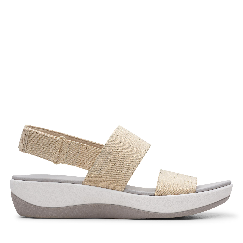 Clarks   Arla Jacory Soft Gold Flat Sandals