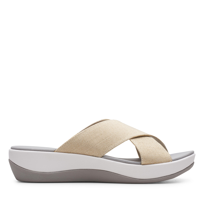Clarks   Arla Elin Gold Flat Sandals