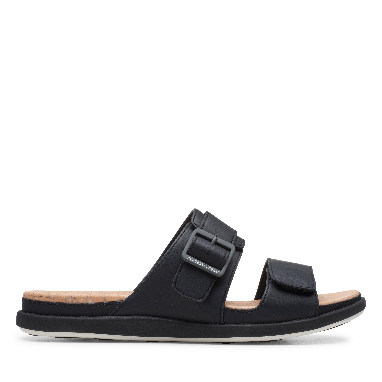 Clarks   Step June Sun Black Flat Sandals