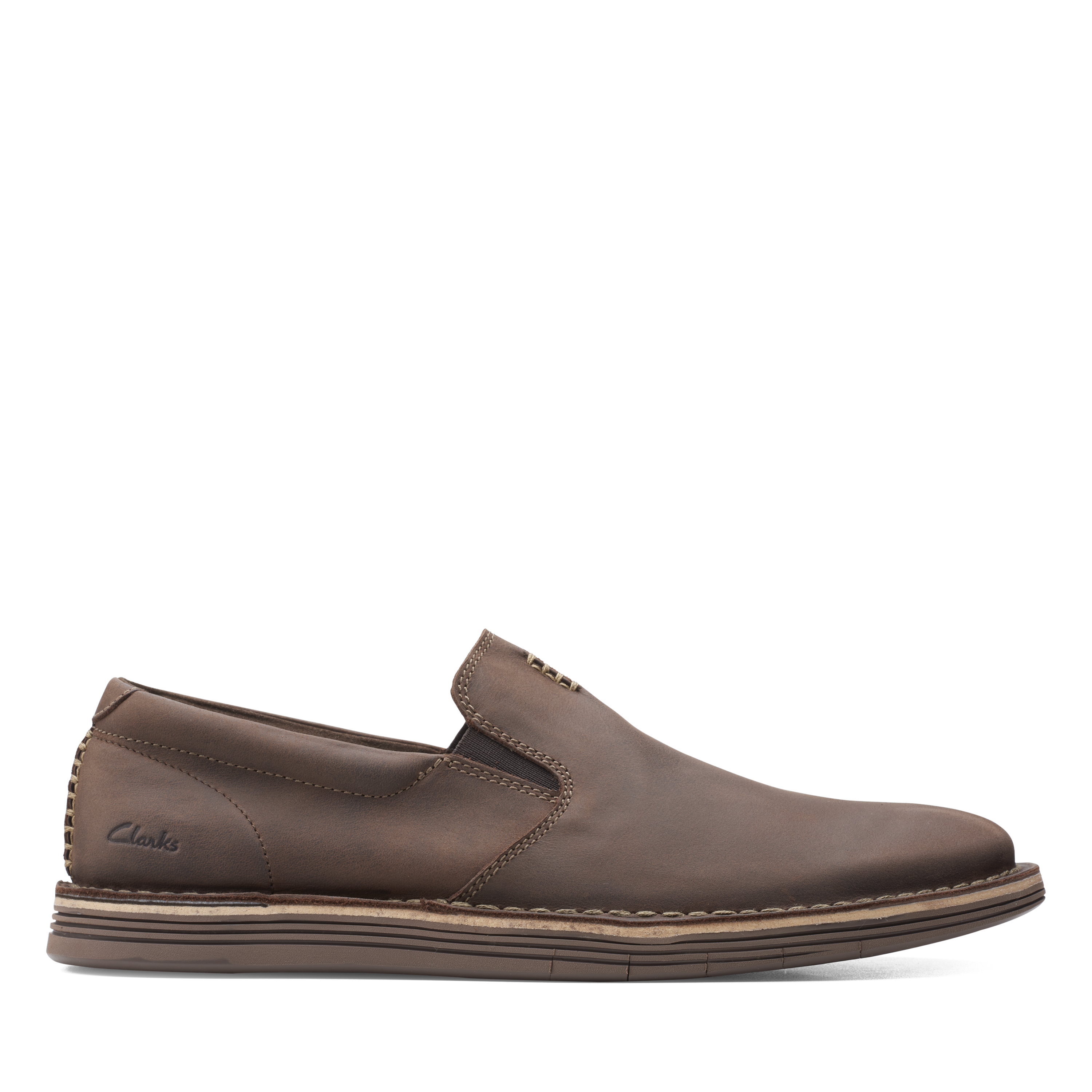 Clarks   Forge Free Dark Brown Lea Slip On shoes