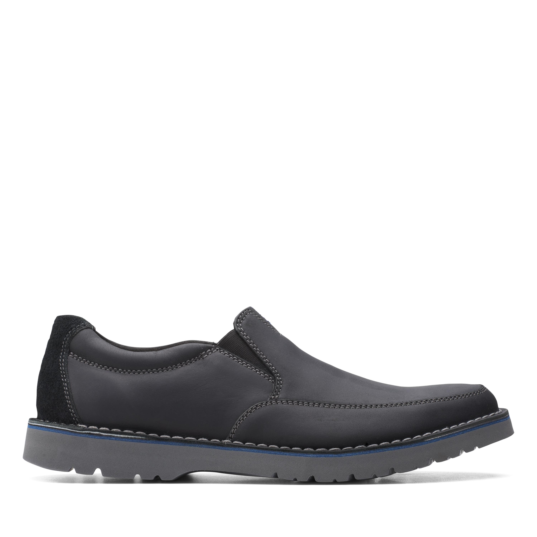 Clarks | Vargo Step Black Leather Slip On shoes