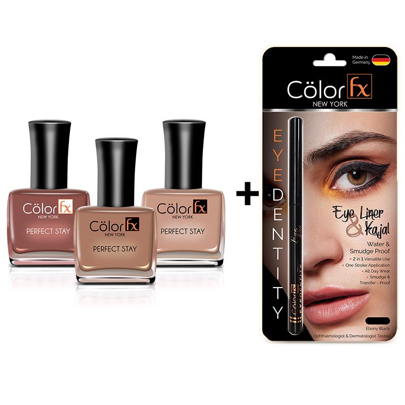 Color Fx   Color Fx Premium Non-Toxic Nail Polish & Kajal, Brilliant Browns Combo, Set of 4