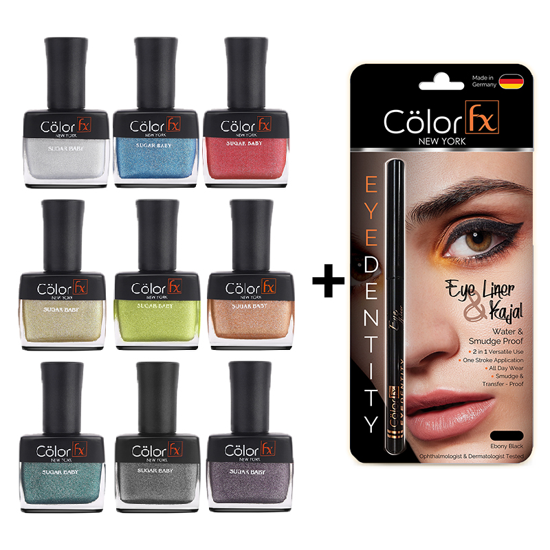 Color Fx | Color Fx Premium Non-Toxic Nail Polish & Kajal, Non-Stop Navratri Combo, Set of 10