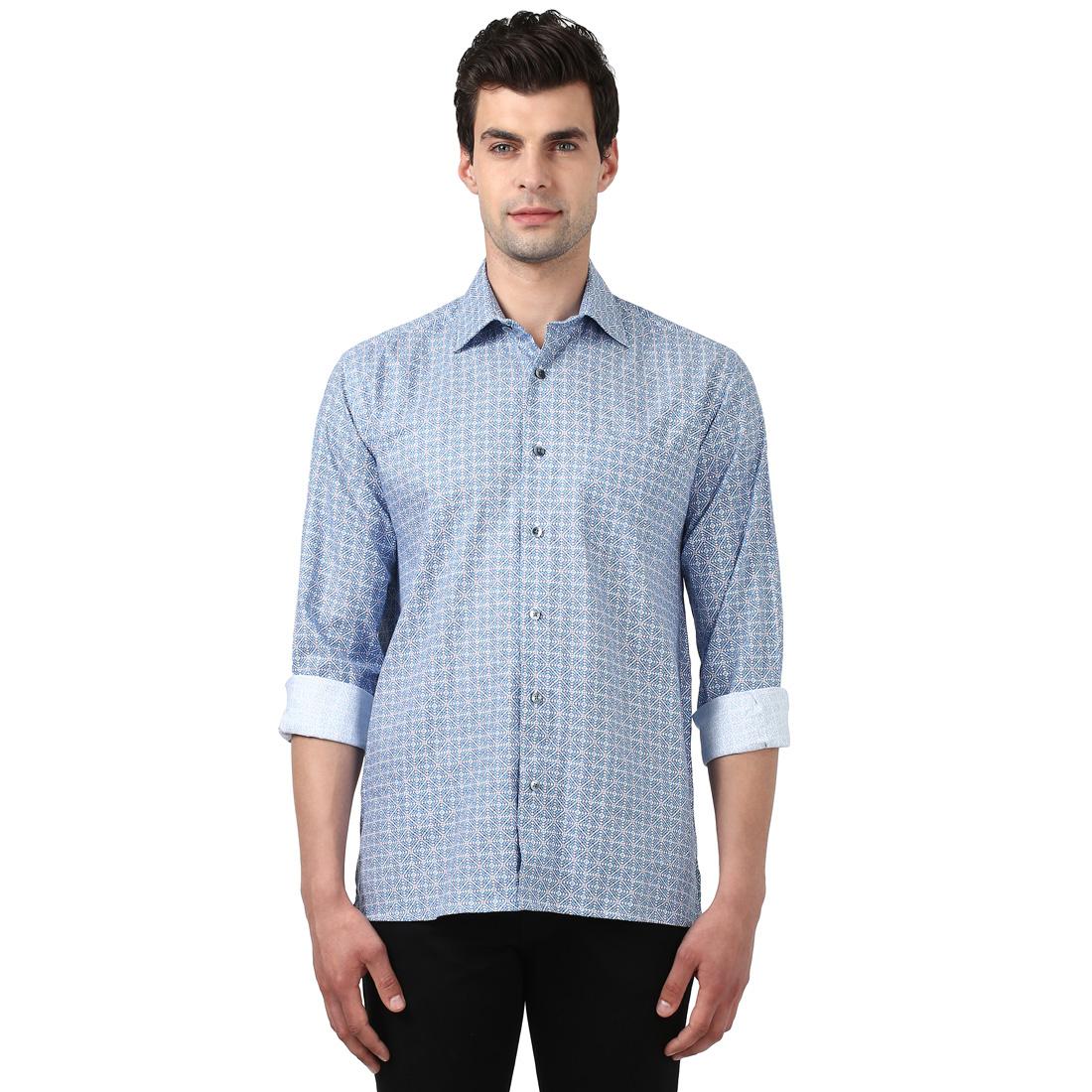 ColorPlus   ColorPlus Light Blue Regular Fit Shirts