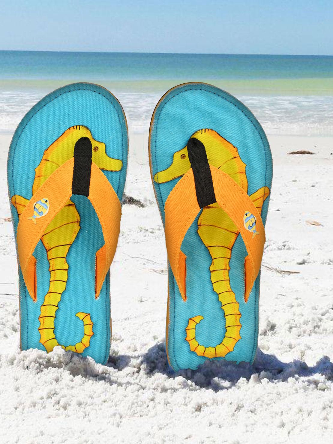 Beachcomber Blue Water | Beachcomber Blue Water  Seahorses Unisex Canvas Flip Flops