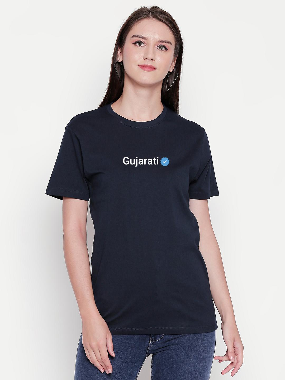 creativeideas.store   Gujarati Verified Black Tshirt by Aditi Raval - creativeideas.store
