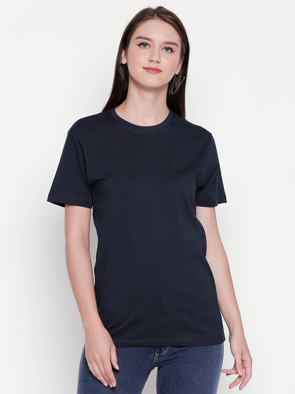 creativeideas.store | creativeideas.store Cotton Solid Round Neck Tshirt for Women Black XS | 100% Cotton Bio-washed Tshirt