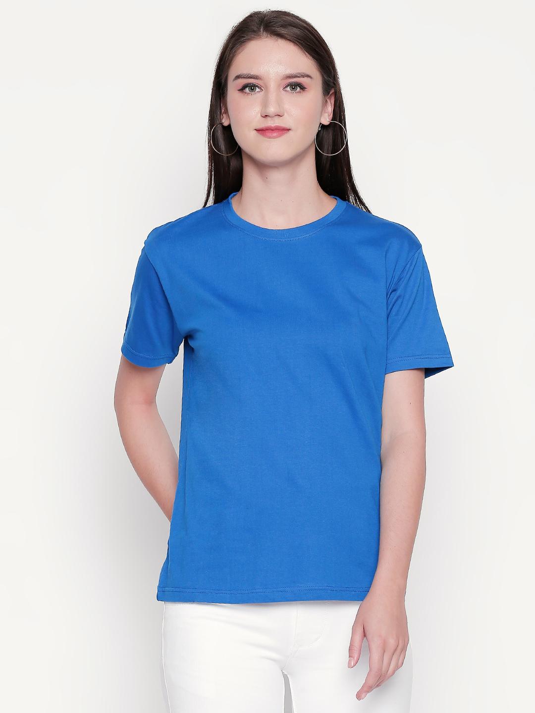 creativeideas.store | creativeideas.store Cotton Solid Round Neck Tshirt for Women Blue XS | 100% Cotton Bio-washed Tshirt